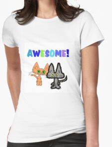 Two Kittens See Something Awesome  Womens Fitted T-Shirt