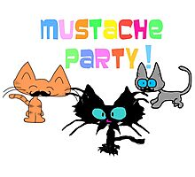 Mustache Party with Kitties Photographic Print