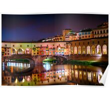 Ponte Vecchio Night Reflections Poster