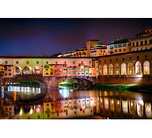 Ponte Vecchio Night Reflections Photographic Print