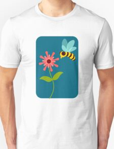 Buzzing Flower Bee Illustration T-Shirt