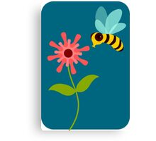 Buzzing Flower Bee Illustration Canvas Print