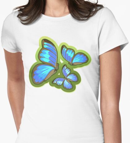 Blue-Colored Butterflies Flying, Illustration Womens Fitted T-Shirt