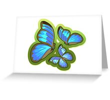 Blue-Colored Butterflies Flying, Illustration Greeting Card