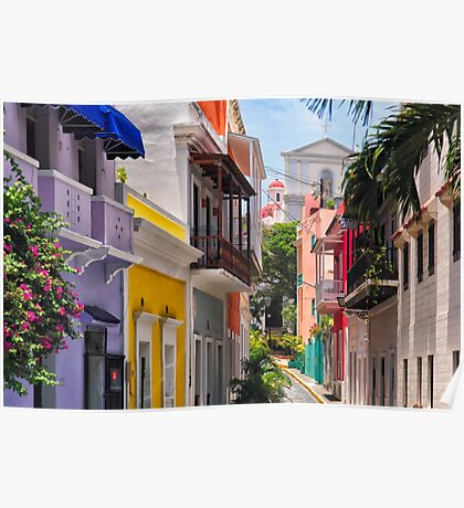 Colorful Streets of Old San Juan, Puerto Rico Poster