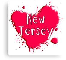 New Jersey Splash Heart New Jersey Canvas Print