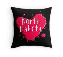 North Dakota Splash Heart North Dakota Throw Pillow