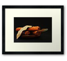 wooden spoon and cinnamon Framed Print