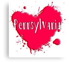 Pennsylvania Splash Heart Pennsylvania Canvas Print