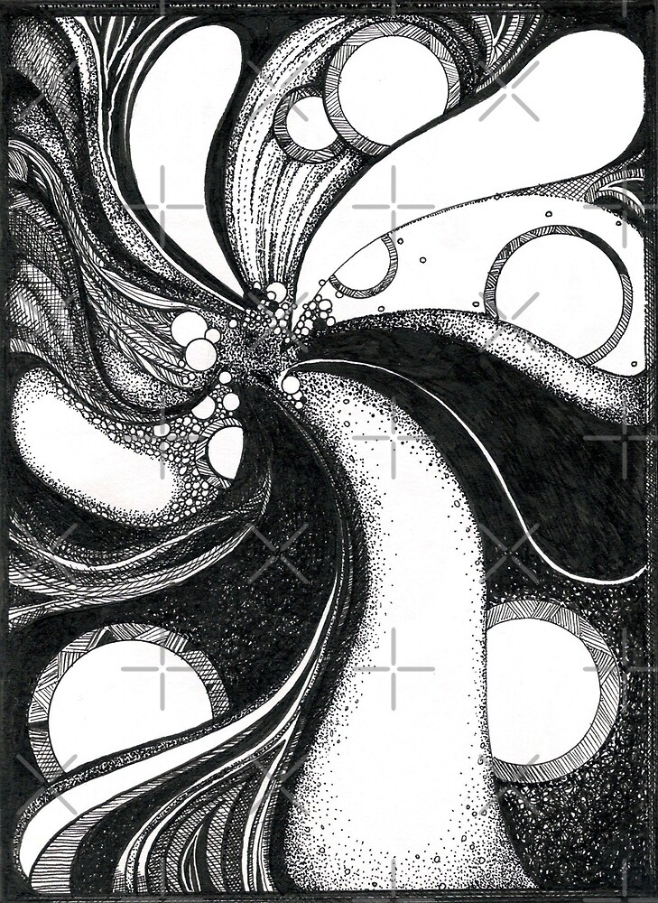 Whirlwind in black and white/ink drawing by Danielle J. Scott (Smith)