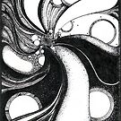 Whirlwind in black and white/ink drawing by Danielle Scott