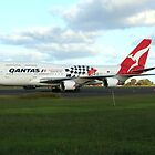 Qantas 747 on Easter Island runway by Maggie Hegarty