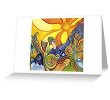 The Dream Colorful Psychedelic Folk Art Greeting Card