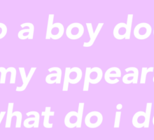 Oh No A Boy Doesn't Like My Appearance Sticker