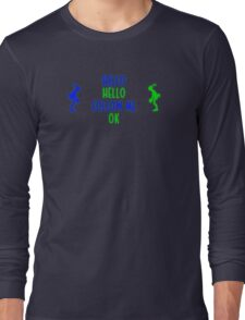 Abe's Hello (Blue & Green Retro) Long Sleeve T-Shirt