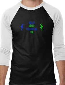 Abe's Hello (Blue & Green Retro) Men's Baseball ¾ T-Shirt