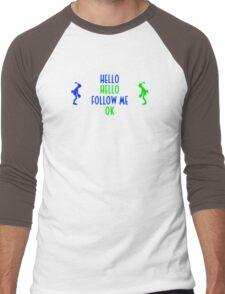 Abe's Hello (Blue & Green Retro) Men's Baseball ¾ T-Shirt