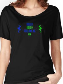 Abe's Hello (Blue & Green Retro) Women's Relaxed Fit T-Shirt