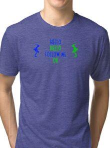 Abe's Hello (Blue & Green Retro) Tri-blend T-Shirt