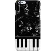 Black and White Piano Music Pattern iPhone Case/Skin