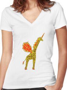 Giralicorn  Women's Fitted V-Neck T-Shirt