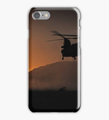 Chinook Helicopter lifting off as the sun sets - Military Art / Army / Air Force  iPhone Case/Skin