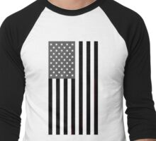Greyscale American Flag  Men's Baseball ¾ T-Shirt