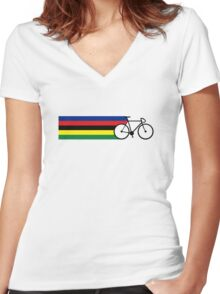 Rainbow Jersey (bicycle racing) Women's Fitted V-Neck T-Shirt