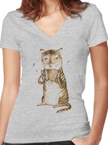 Accordion Tiger Women's Fitted V-Neck T-Shirt