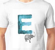 Watercolor alphabet E elephant art Unisex T-Shirt
