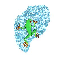 Blue Day Frog Photographic Print