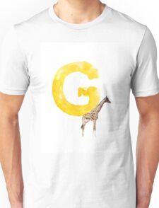 Watercolor alphabet G giraffe art Unisex T-Shirt