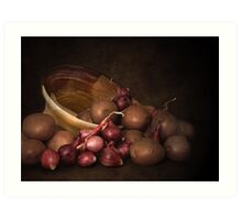 Pottery, Potatoes And Pearl Onions Art Print