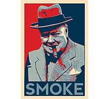 Smoke - Churchill with cigar obama style poster graphic Photographic Print