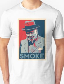 Smoke - Churchill with cigar obama style poster graphic T-Shirt