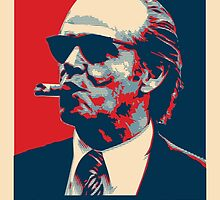 Smoke - Nicholson with cigar obama style poster graphic by Neal Wollenberg
