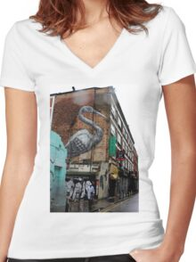 Roa - Crane (Urban Wildlife) Women's Fitted V-Neck T-Shirt