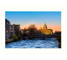 Galway Cathedral - Sunset On The River Corrib Art Print