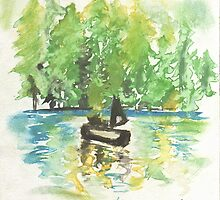 Lake of Ohrid (Albania) - watercolor by Margarit Muça