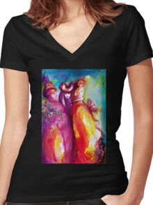 THE THIRD MASK / Venetian Carnival Masquerade Women's Fitted V-Neck T-Shirt