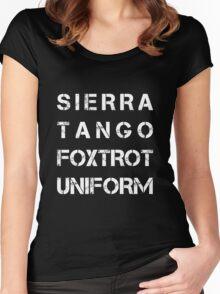 NATO Phonetic Alphabet - STFU - Sierra Tango Foxtrot Uniform Women's Fitted Scoop T-Shirt