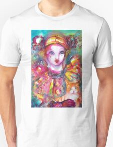 Pierrot with Cat  / Venetian Masquerade Masks T-Shirt
