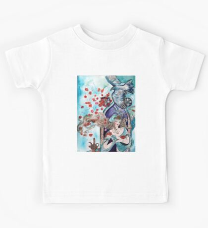 ORIENTAL FAIRY TALE / PRINCESS ,RED ROSES AND FLYING  HAWK Kids Tee