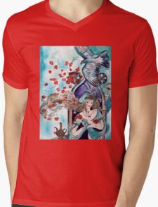 ORIENTAL FAIRY TALE / PRINCESS ,RED ROSES AND FLYING  HAWK Mens V-Neck T-Shirt