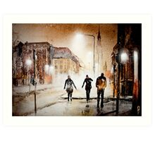 Britain's cold night in warm colors. Art Print