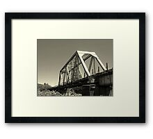 Truss railroad bridge over the Rogue river Framed Print