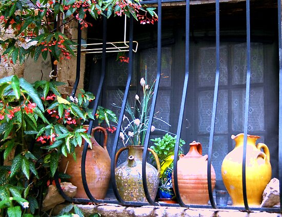 Pottery on Sill by Sheri Greenberg