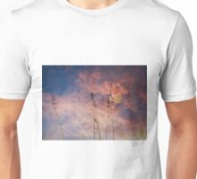 Peach and Yellow Butterfly on Lavender at Indigo Blue Starry Twilight Unisex T-Shirt
