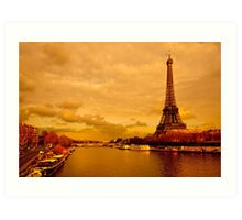 Tour Eiffel - Vintage Golden Parisian Landscape Art Print