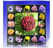 Summer Flowers Collage in Reflection Frame featuring Dahlia Poster